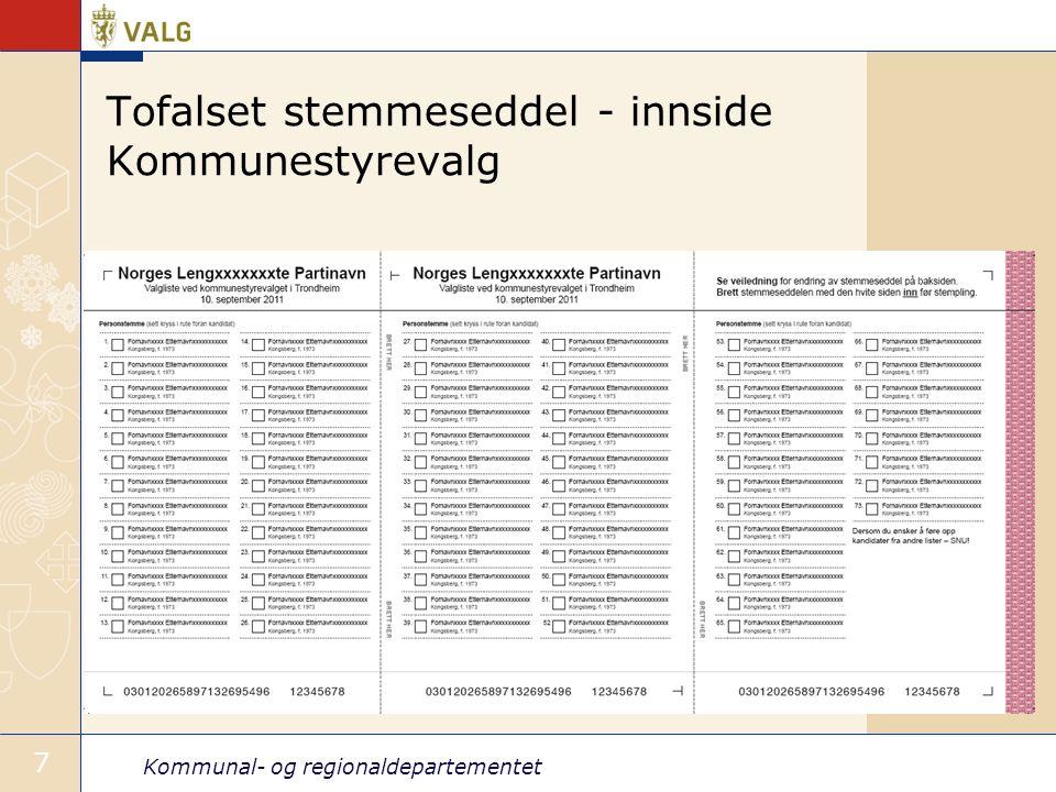 Tofalset stemmeseddel - innside Kommunestyrevalg