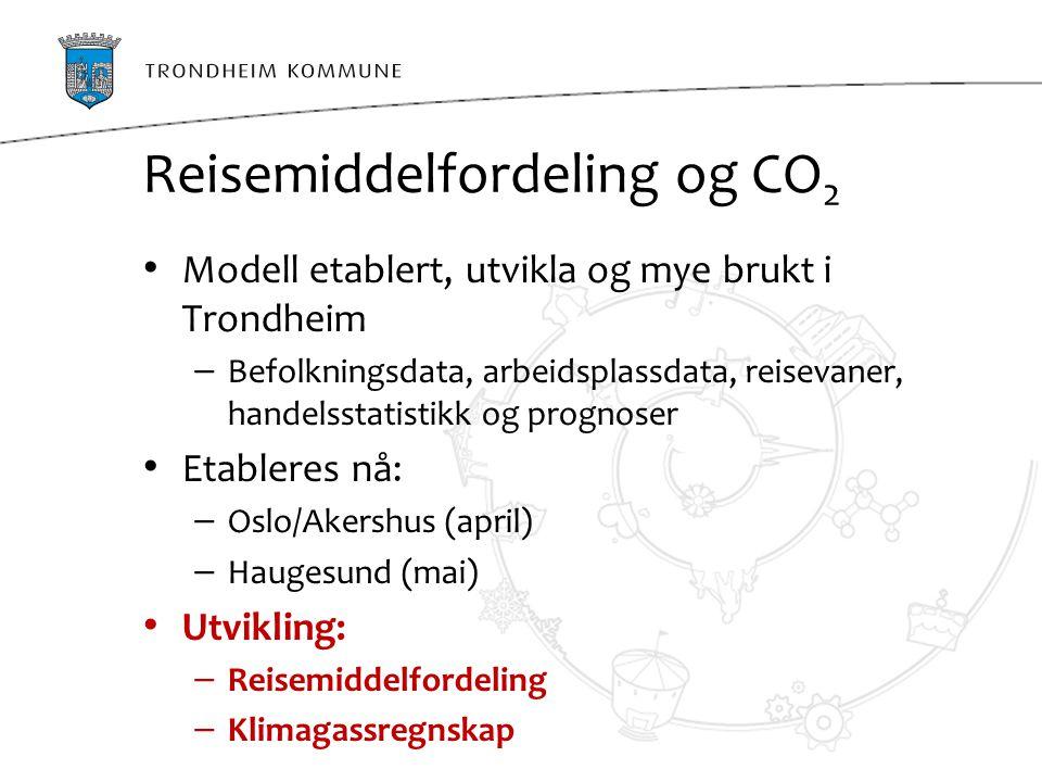 Reisemiddelfordeling og CO2