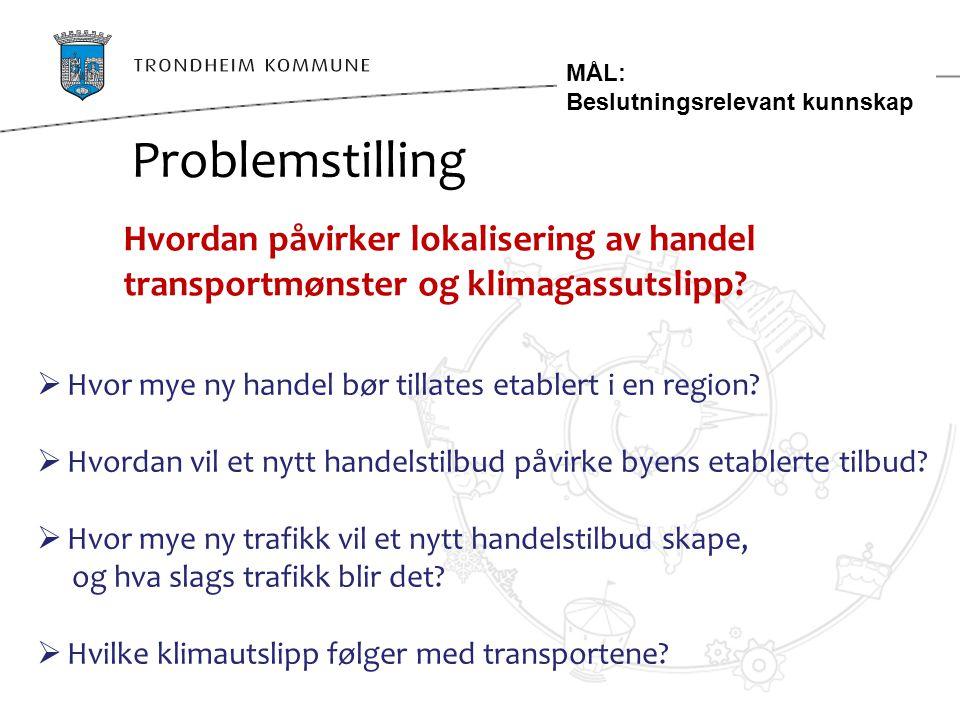 MÅL: Beslutningsrelevant kunnskap. Problemstilling. Hvordan påvirker lokalisering av handel transportmønster og klimagassutslipp