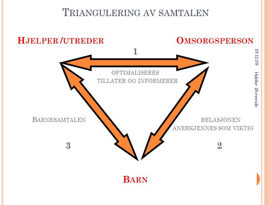 Triangulering av samtalen Hjelper /utreder Omsorgsperson 1 optimaliseres tillater og informerer Barnesamtalen relasjonen anerkjennes som viktig 3 2 Barn