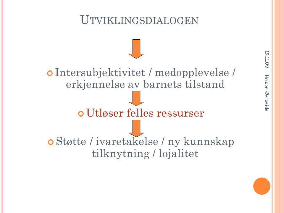 Utviklingsdialogen 19.11.09. Intersubjektivitet / medopplevelse / erkjennelse av barnets tilstand.