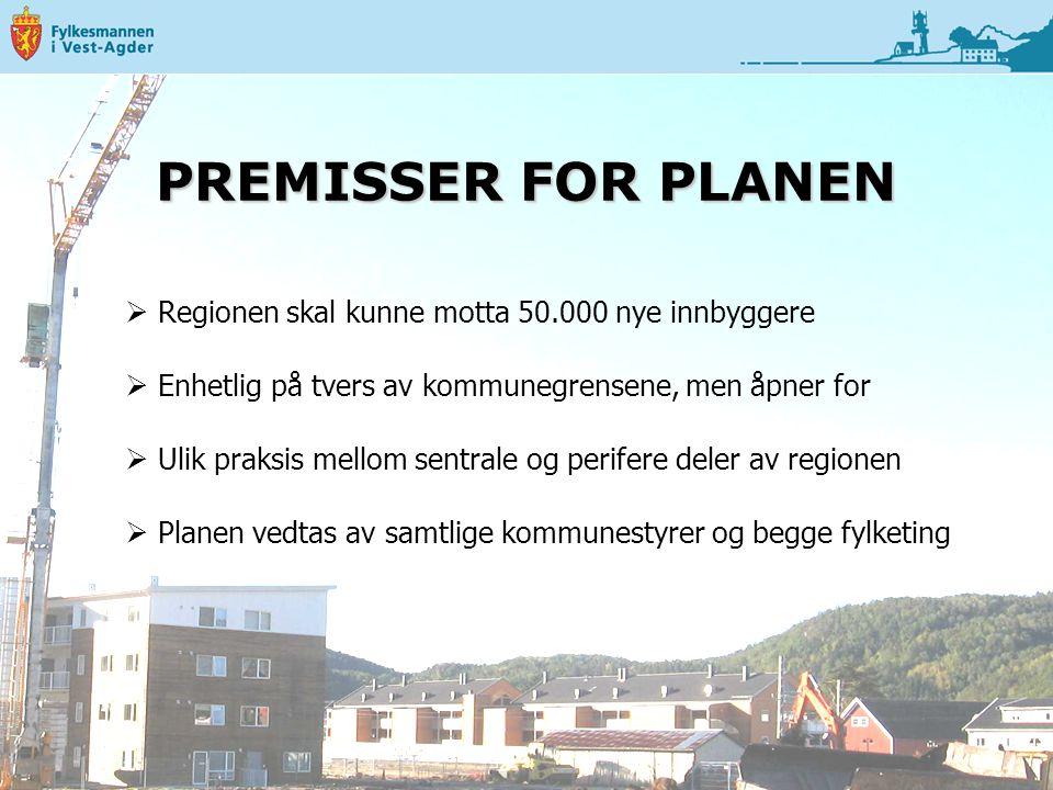 PREMISSER FOR PLANEN Regionen skal kunne motta 50.000 nye innbyggere