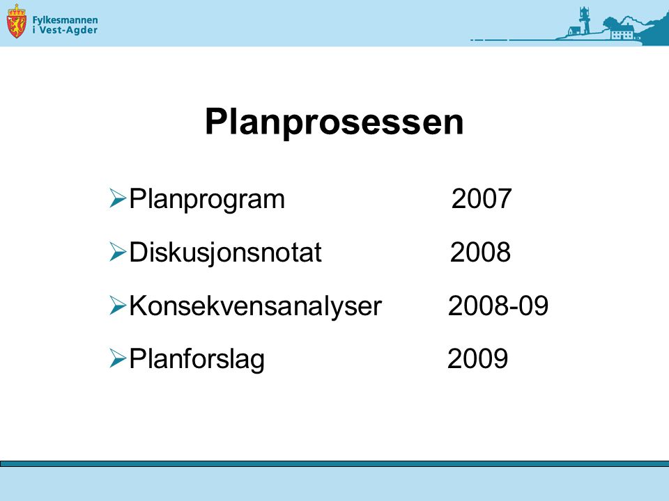 Planprosessen Planprogram 2007 Diskusjonsnotat 2008