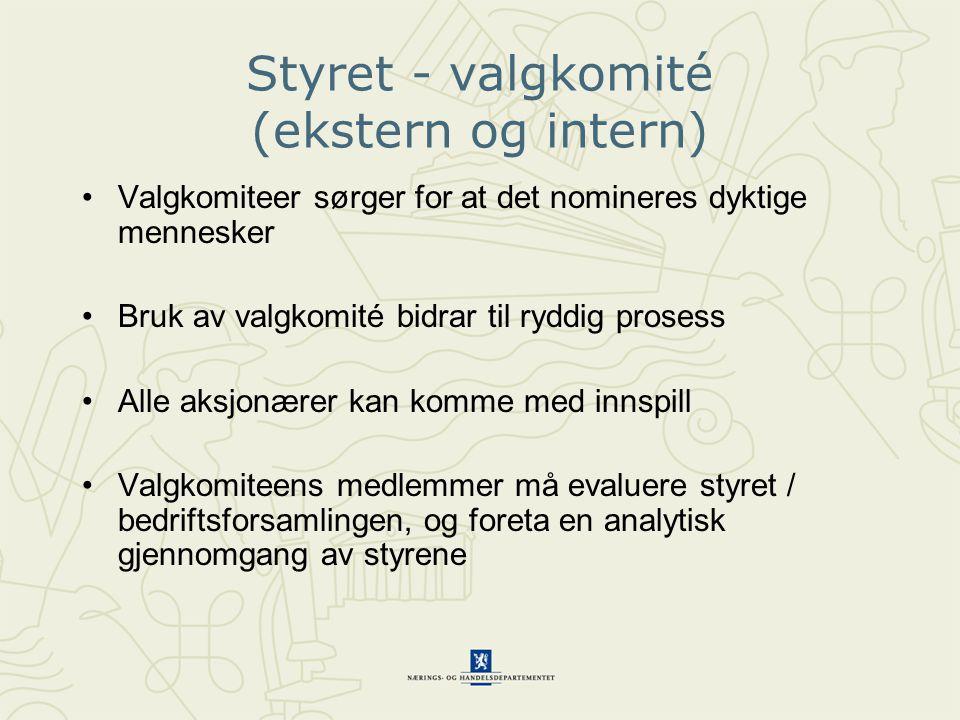 Styret - valgkomité (ekstern og intern)