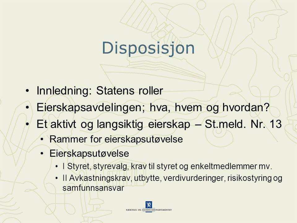 Disposisjon Innledning: Statens roller