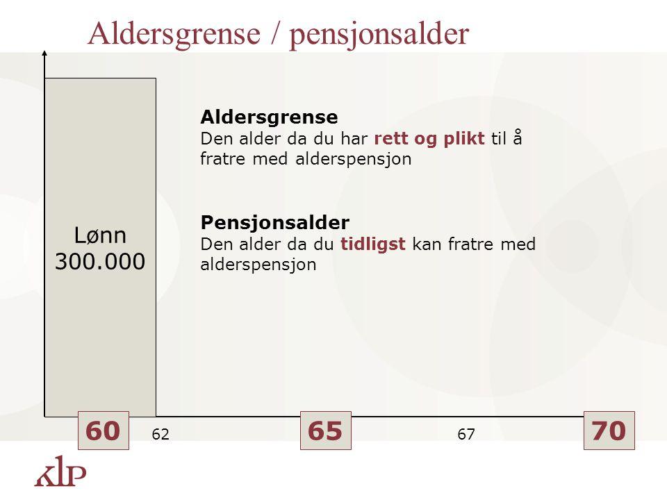 Aldersgrense / pensjonsalder