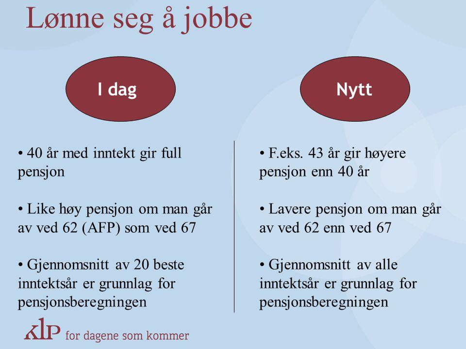 Lønne seg å jobbe I dag Nytt 40 år med inntekt gir full pensjon