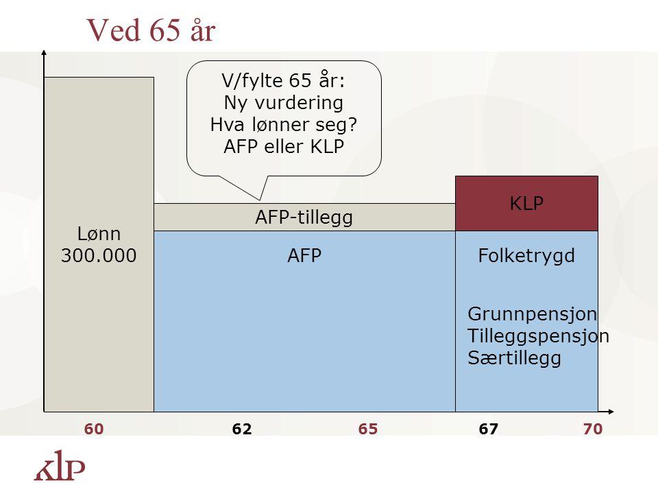 Ved 65 år V/fylte 65 år: Ny vurdering Hva lønner seg AFP eller KLP