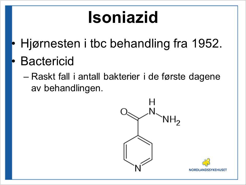 Isoniazid Hjørnesten i tbc behandling fra 1952. Bactericid