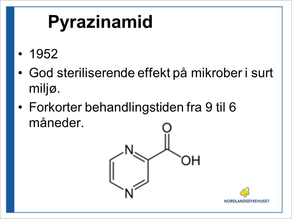 Pyrazinamid 1952 God steriliserende effekt på mikrober i surt miljø.