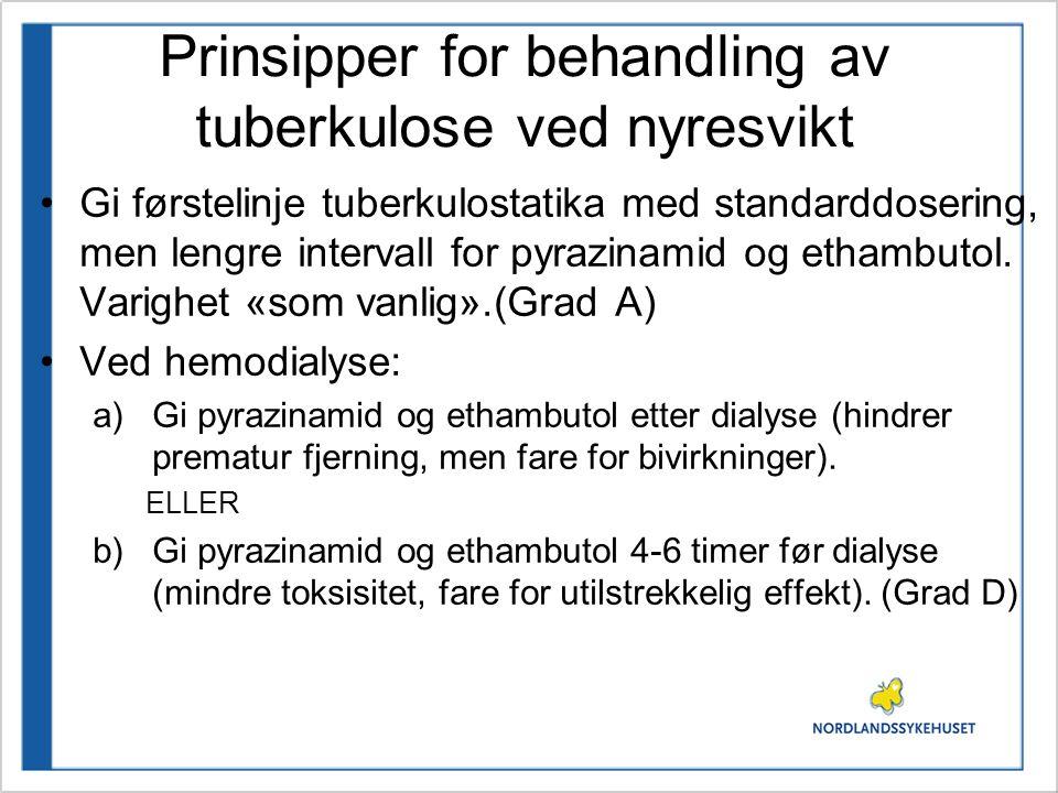 Prinsipper for behandling av tuberkulose ved nyresvikt