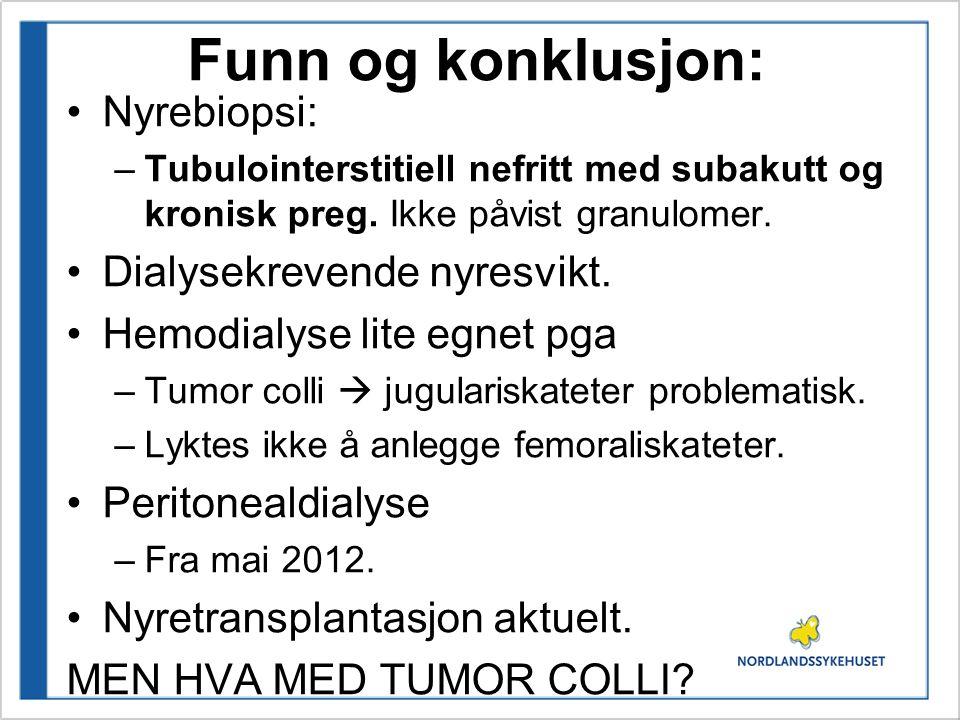 Funn og konklusjon: Nyrebiopsi: Dialysekrevende nyresvikt.