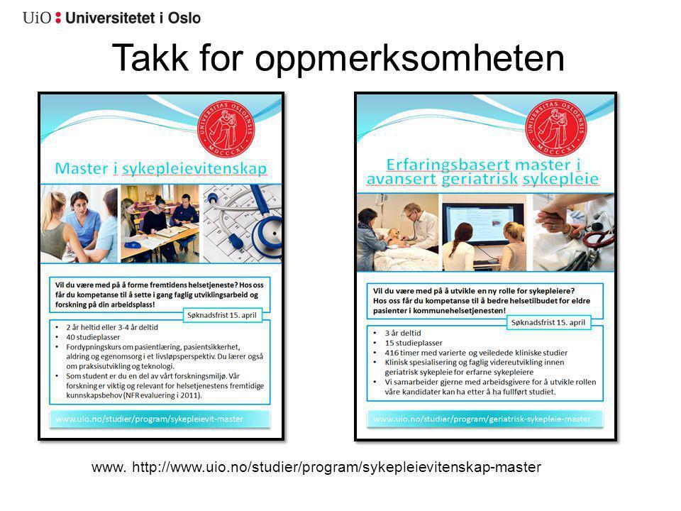 www. http://www.uio.no/studier/program/sykepleievitenskap-master
