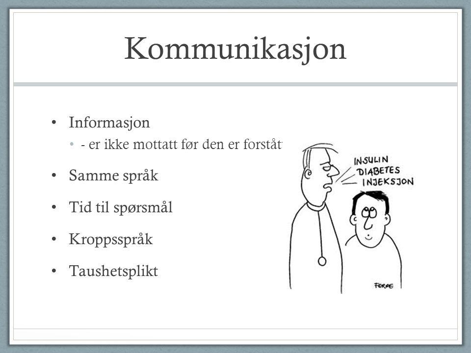 Kommunikasjon Informasjon Samme språk Tid til spørsmål Kroppsspråk