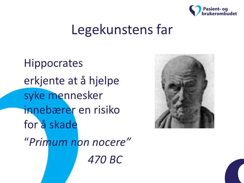 Legekunstens far Hippocrates. erkjente at å hjelpe syke mennesker innebærer en risiko for å skade.