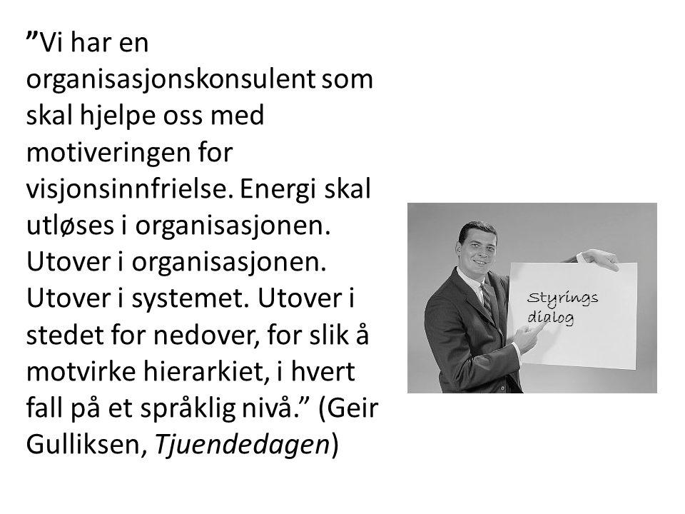 Vi har en organisasjonskonsulent som skal hjelpe oss med motiveringen for visjonsinnfrielse. Energi skal utløses i organisasjonen. Utover i organisasjonen. Utover i systemet. Utover i stedet for nedover, for slik å motvirke hierarkiet, i hvert fall på et språklig nivå. (Geir Gulliksen, Tjuendedagen)