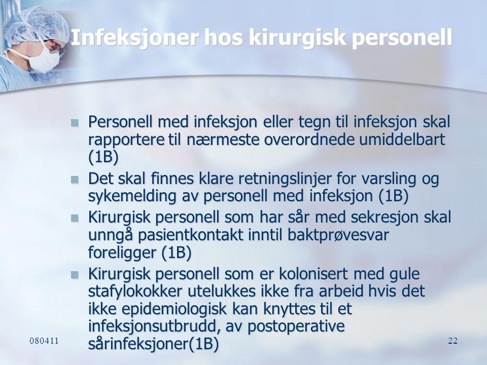 Infeksjoner hos kirurgisk personell