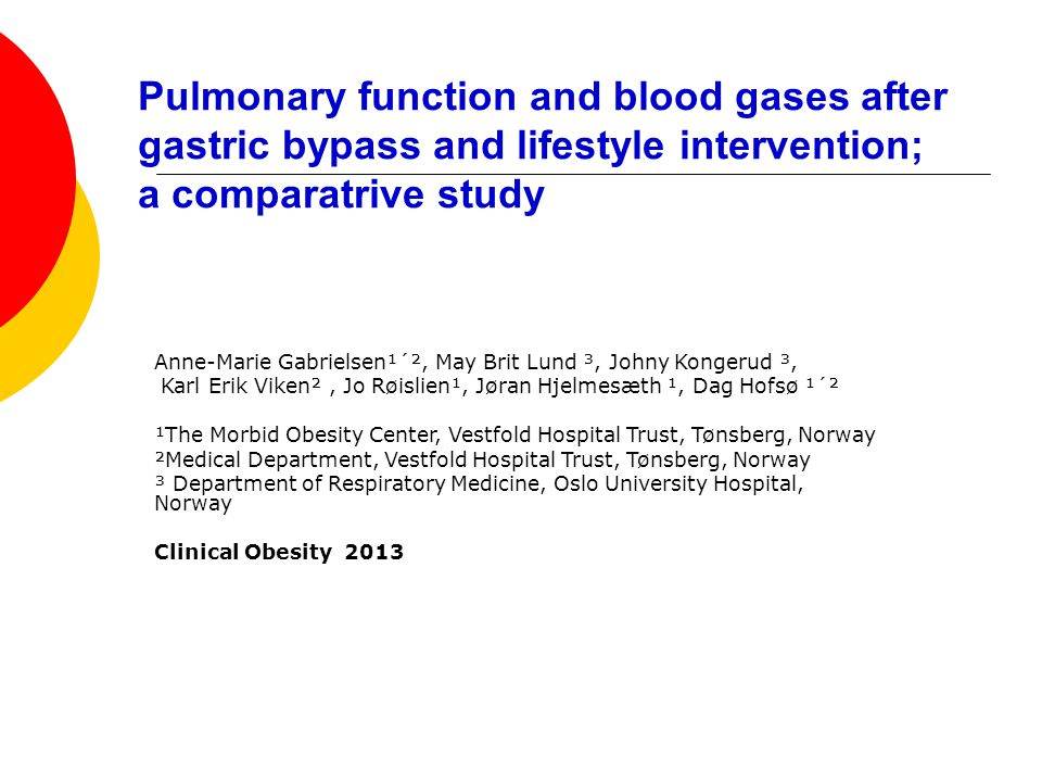 Pulmonary function and blood gases after gastric bypass and lifestyle intervention; a comparatrive study