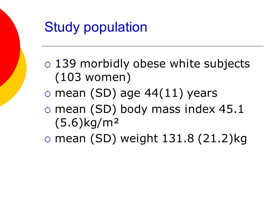 Study population 139 morbidly obese white subjects (103 women)