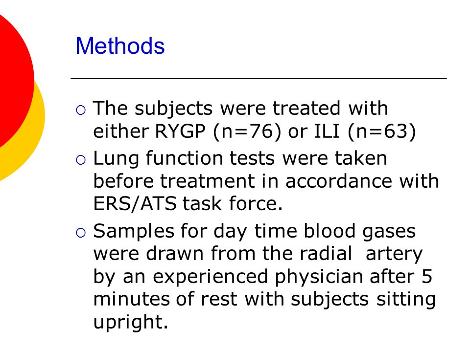 Methods The subjects were treated with either RYGP (n=76) or ILI (n=63)