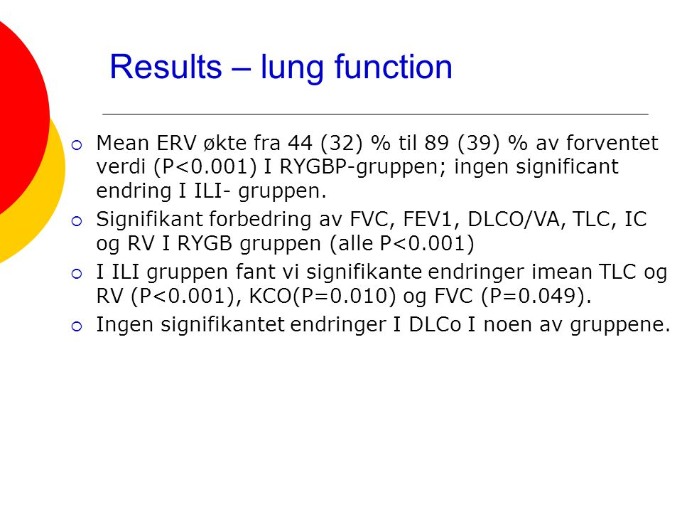 Results – lung function