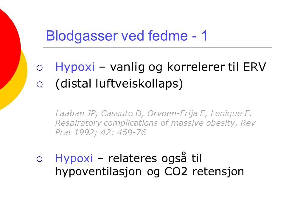 Blodgasser ved fedme - 1 Hypoxi – vanlig og korrelerer til ERV