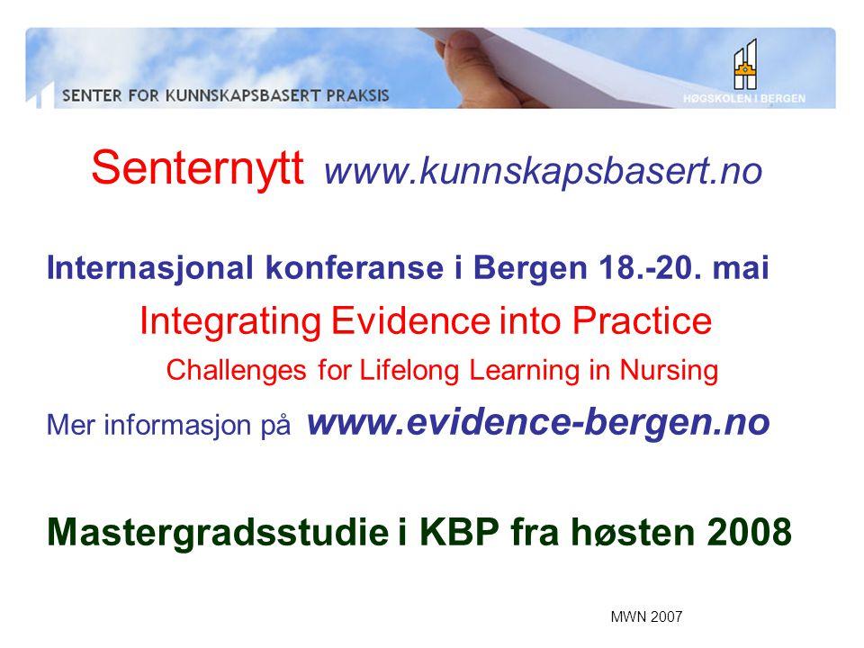 Senternytt www.kunnskapsbasert.no
