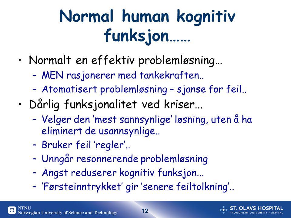Normal human kognitiv funksjon……