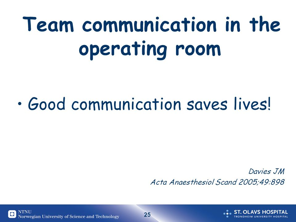 Team communication in the operating room