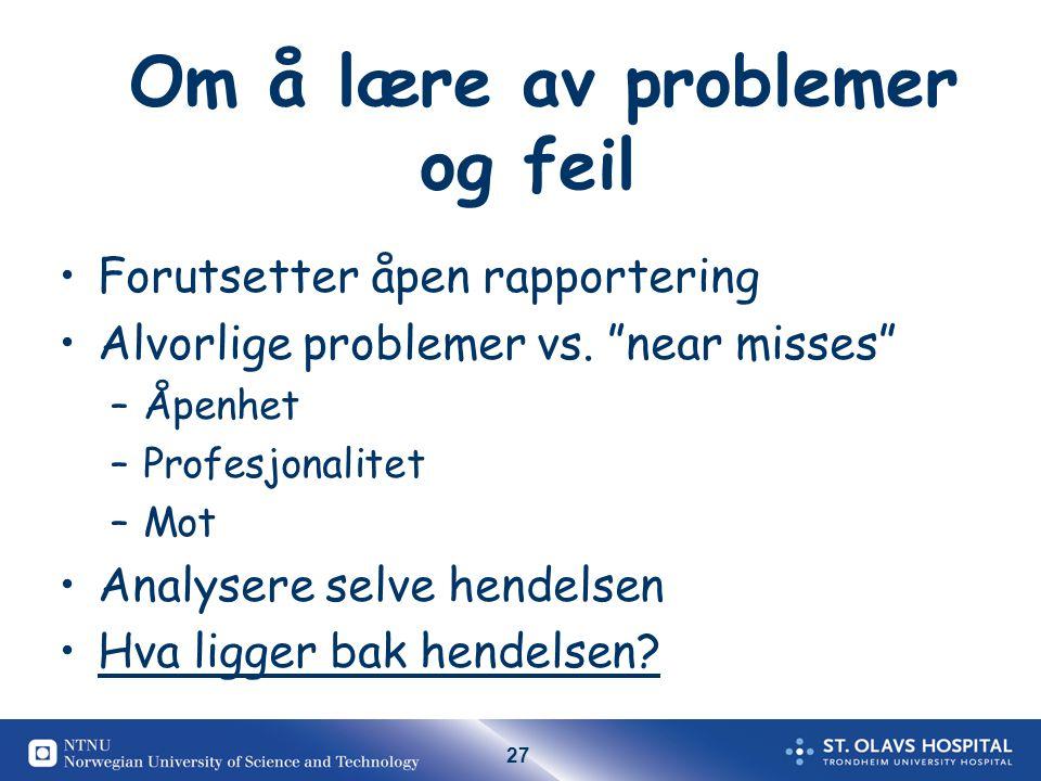 Om å lære av problemer og feil
