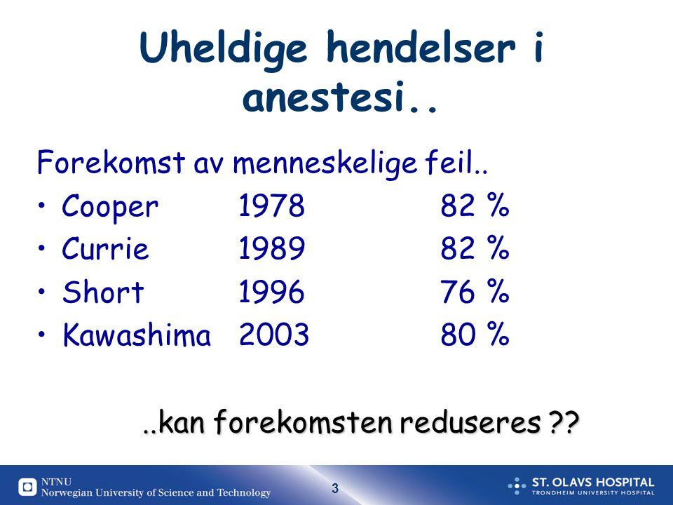Uheldige hendelser i anestesi..