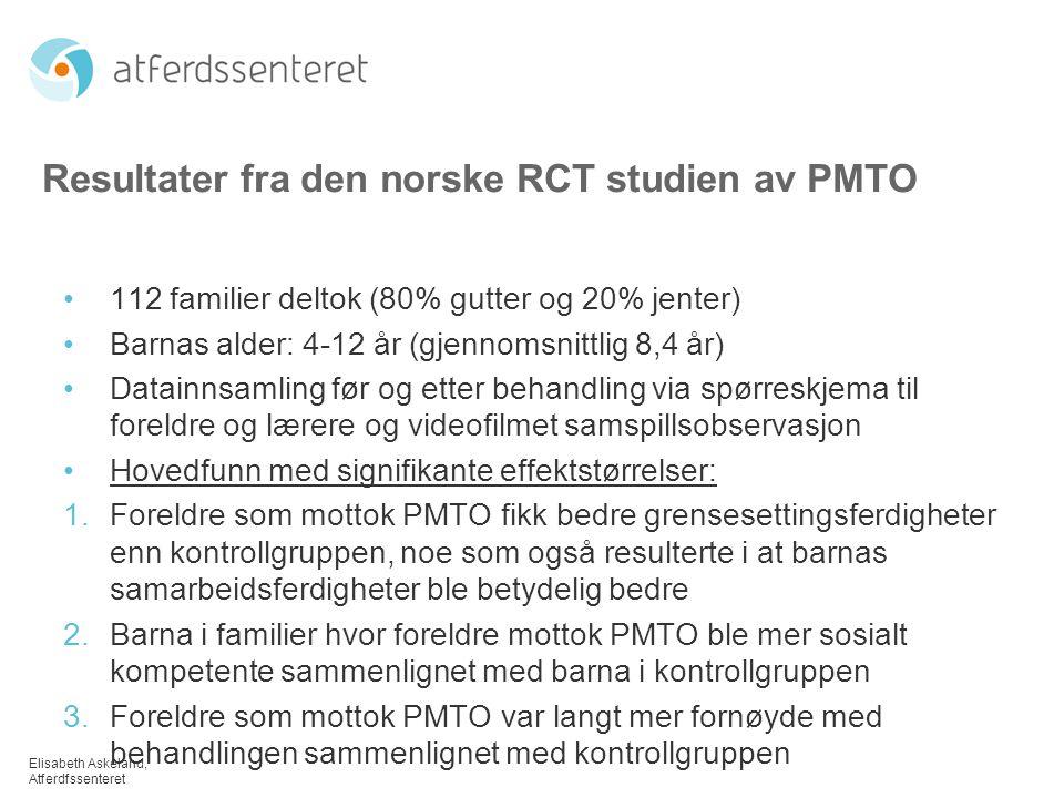 Resultater fra den norske RCT studien av PMTO