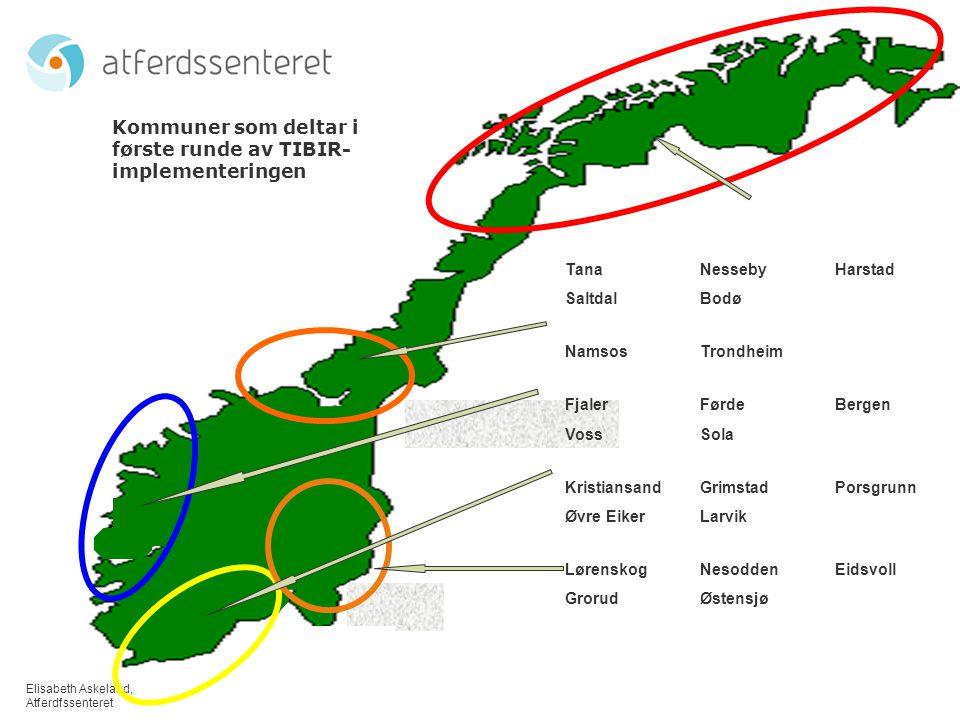 Kommuner som deltar i første runde av TIBIR- implementeringen