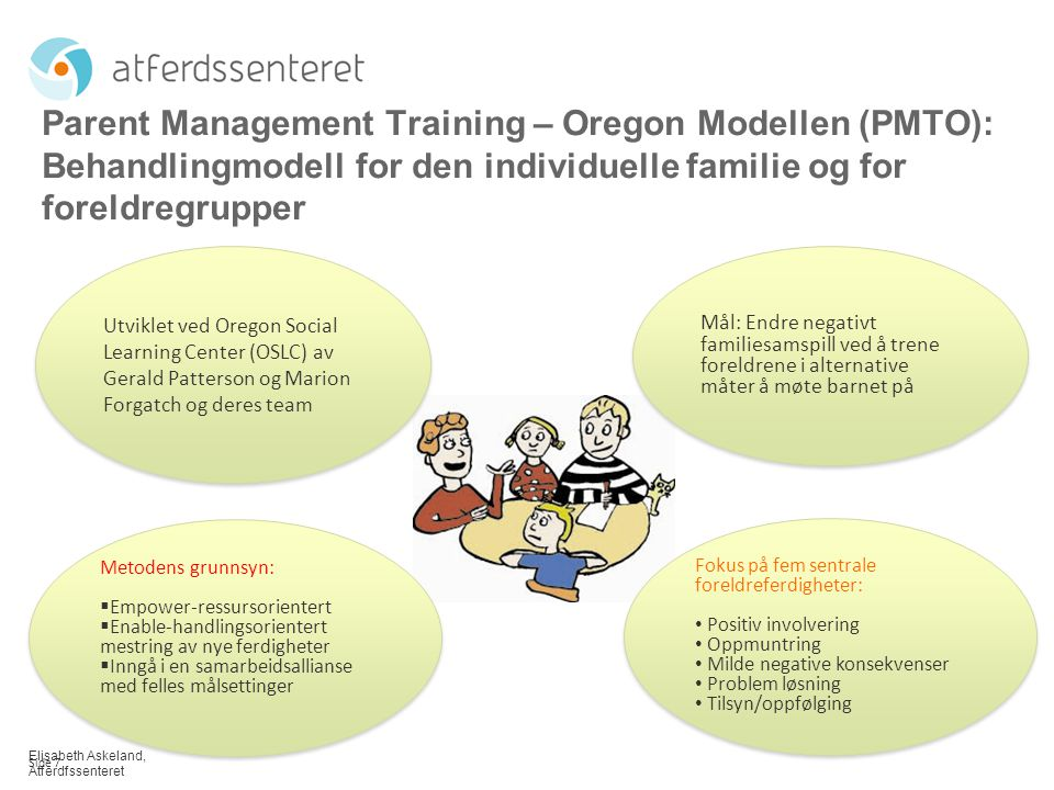 Parent Management Training – Oregon Modellen (PMTO): Behandlingmodell for den individuelle familie og for foreldregrupper
