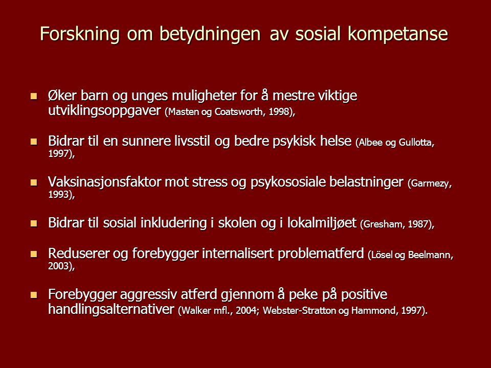 Forskning om betydningen av sosial kompetanse