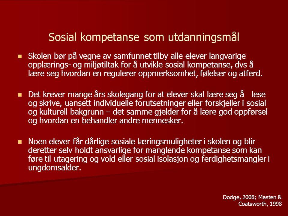 Sosial kompetanse som utdanningsmål