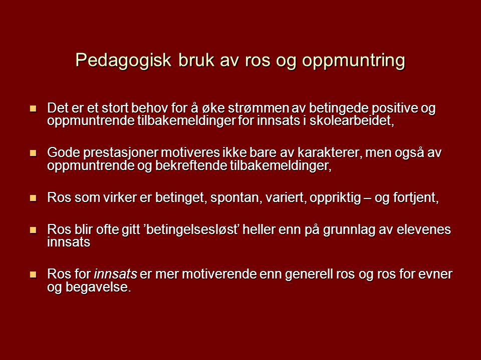 Pedagogisk bruk av ros og oppmuntring