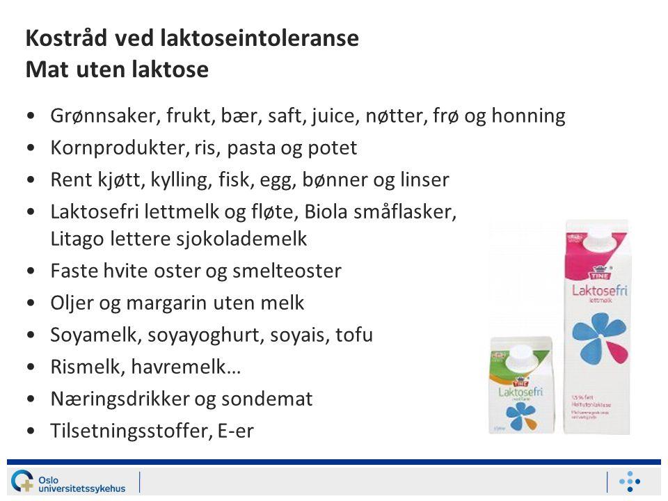 Kostråd ved laktoseintoleranse Mat uten laktose
