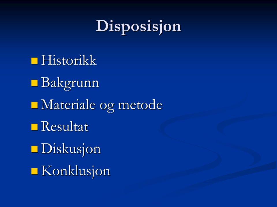 Disposisjon Historikk Bakgrunn Materiale og metode Resultat Diskusjon