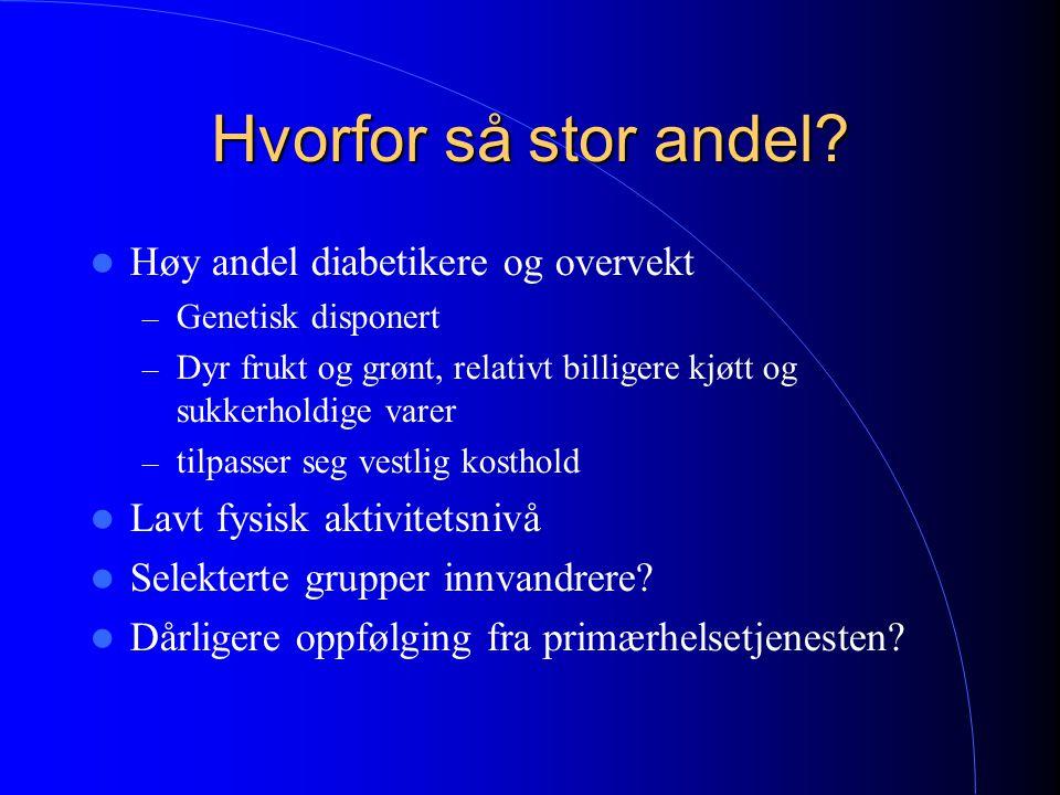 Hvorfor så stor andel Høy andel diabetikere og overvekt
