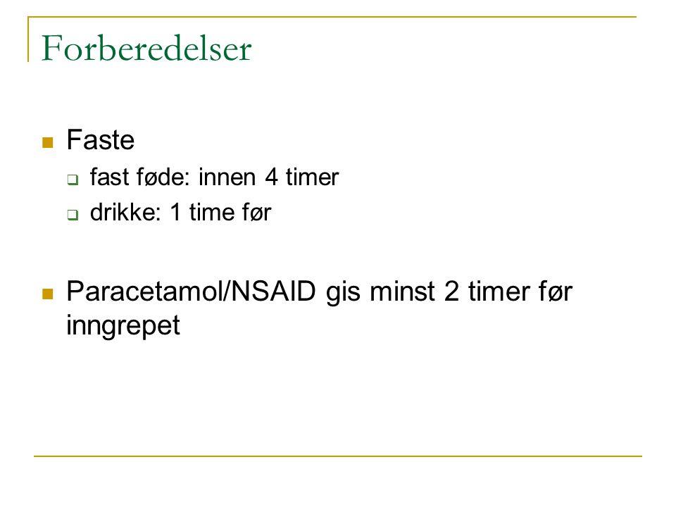 Forberedelser Faste Paracetamol/NSAID gis minst 2 timer før inngrepet