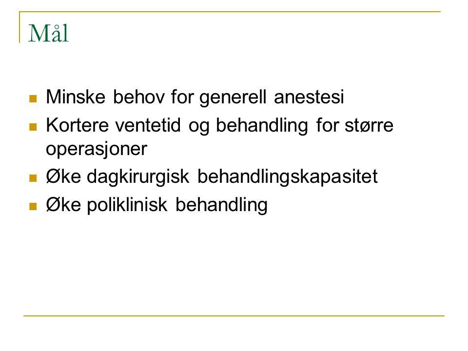 Mål Minske behov for generell anestesi