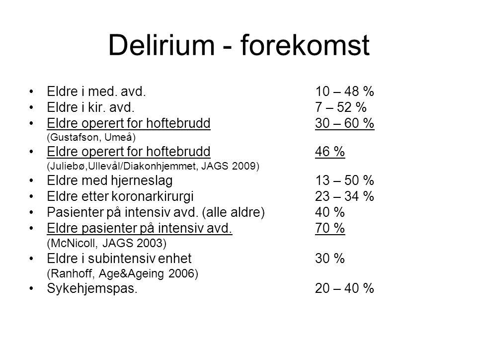 Delirium - forekomst Eldre i med. avd. 10 – 48 %