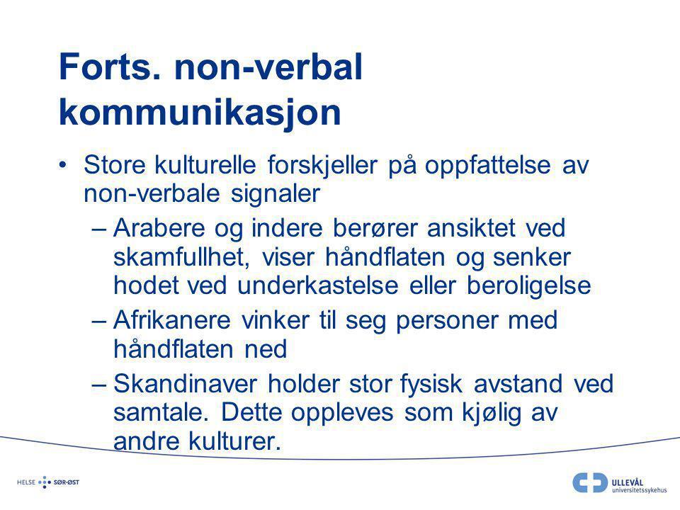 Forts. non-verbal kommunikasjon