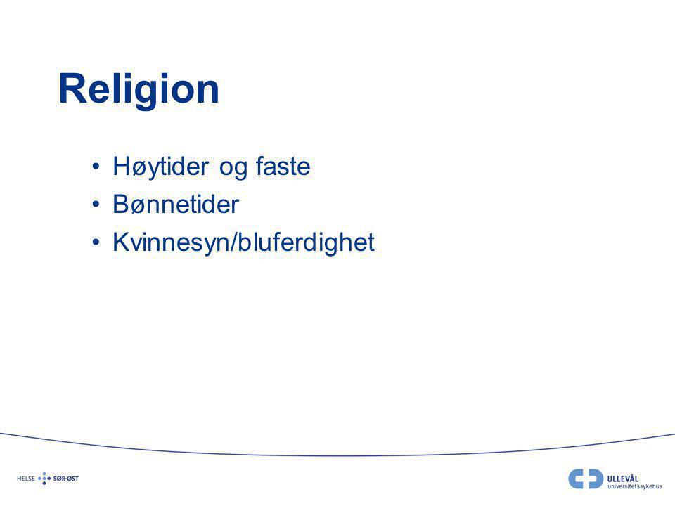 Religion Høytider og faste Bønnetider Kvinnesyn/bluferdighet