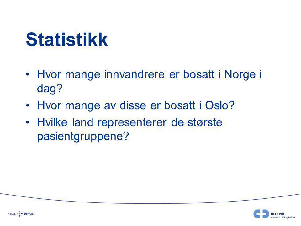 Statistikk Hvor mange innvandrere er bosatt i Norge i dag