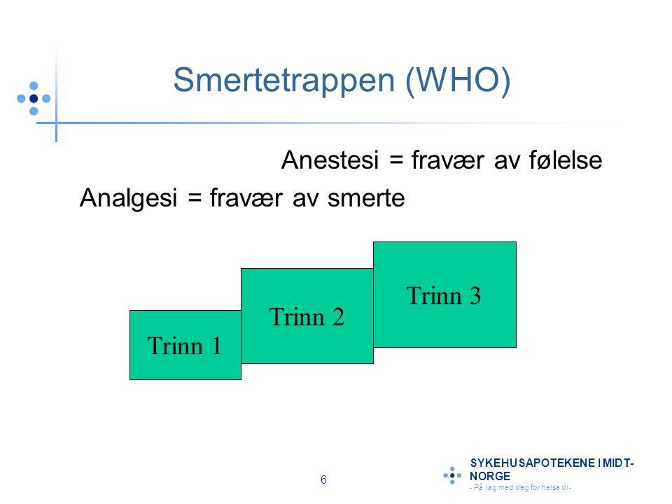 Smertetrappen (WHO) Anestesi = fravær av følelse