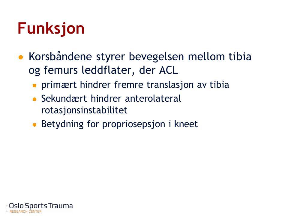Funksjon Korsbåndene styrer bevegelsen mellom tibia og femurs leddflater, der ACL. primært hindrer fremre translasjon av tibia.