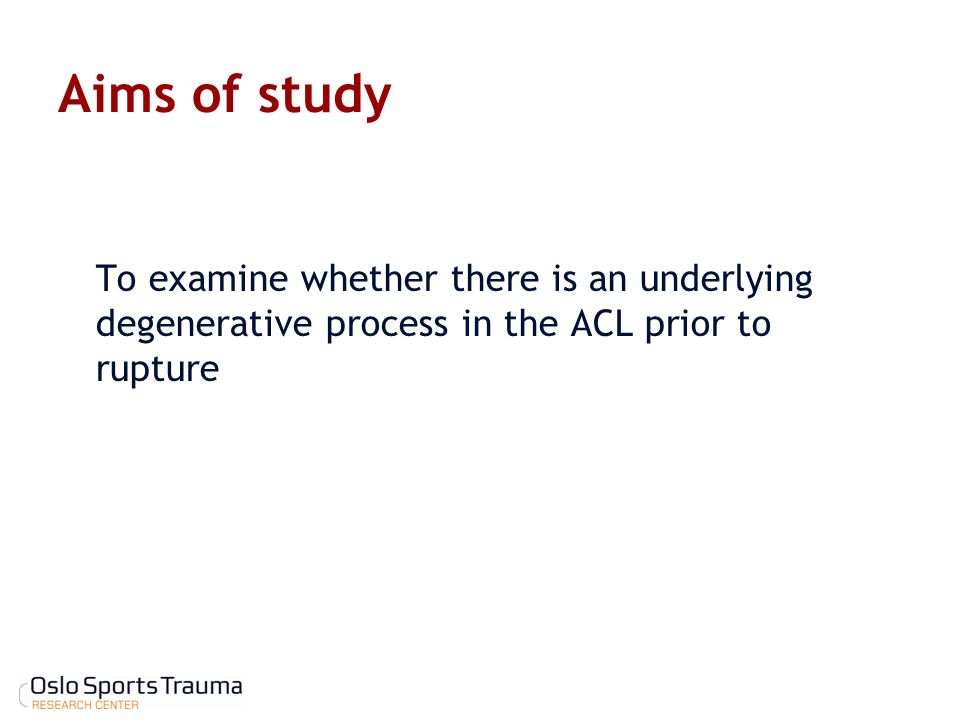Aims of study To examine whether there is an underlying degenerative process in the ACL prior to rupture.