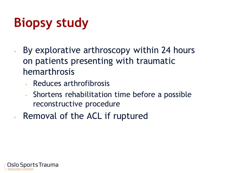 Biopsy study By explorative arthroscopy within 24 hours on patients presenting with traumatic hemarthrosis.